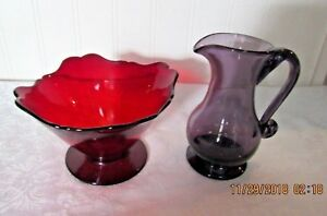 Hand Blown Small Purple Glass Pitcher And Rubby Red Glass Bowl