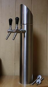 Beer Tower Tap Faucet Draft Double Kegerator Lights Logo Fischer s Hell