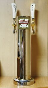 Beer Tap Faucet Draft Double Stainless Steel Tower Keg Kegerator Logo Krusovice