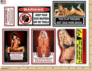 Funny Warning Stickers Complete Set Of 6 Decals Sexy Girl Tool Box Made Usa