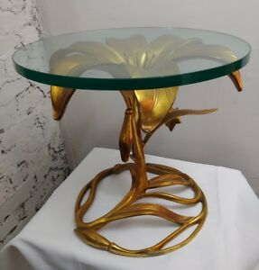 Arthur Court Vtg Mid Century Modern Hollywood Regency Flower Lily Side End Table