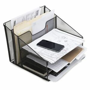 Desktop File Letter Organizer Metal Paper Sorter Tray For Notes Papers Book