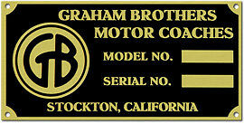 Graham Brothers Truck Data Plate 1920s 1940s Etched Brass