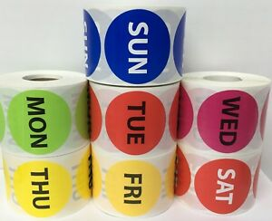 All 7 Days Of The Week Inventory Stock Warehouse Labels 2 Circle 500 roll