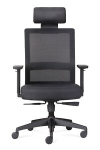 Office Chair High Backrest With Black Mesh Seat And Headrest With Black Fabric