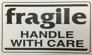 500 Large Labels 3x5 White Black Fragile Handle With Care Shipping Stickers