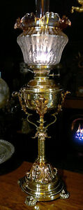 Victorian Arts Crafts Copper Brass Duplex Oil Lamp Etched Amber Shade 30 Tall