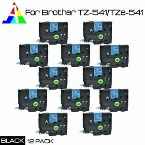 Us Seller 12x Tz 541 Label Tape Black On Blue Tz Tze 541 For Brother P touch