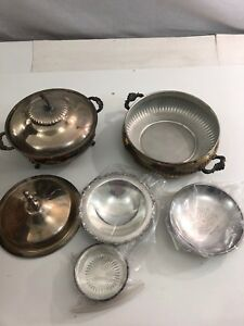 Lot Of 7 Vintage Silverplate Serving Platters Chafing Dish Mixed Lot Scrap