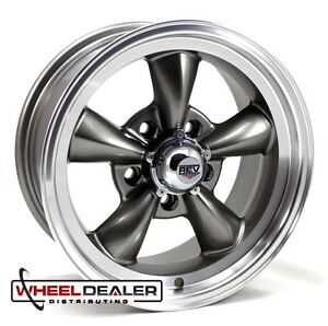 15x7 15x8 Gray Torque Thrust Style Wheels 5x4 75 For Classic Gm Cars Free Lugs