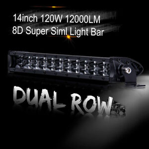 12inch Single Row Slim Led Work Light Bar Combo Dual Driving Lamps Offroad Truck