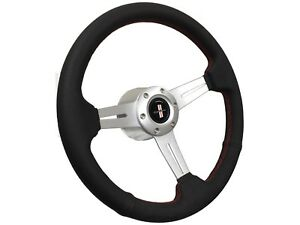 1969 1992 Chevy Camaro Iroc S6 Sport Steering Wheel Brushed Kit Red Stitch
