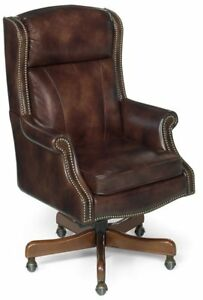 Brand New Empire Leather Executive Chair By Hooker Furniture dark Brownish