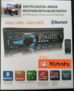 Kubota Tractor Radio Mp3 Am Fm Usb Aux Bluetooth Remote Rtv Harness Plug