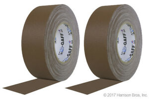 2 Pack Bundle 2 Inch Brown Pro Gaffer Gaffers Tape 55 Yd Rolls