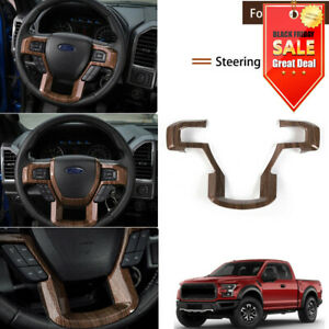 For Ford F 150 2015 19 Interior Steering Wheel Decorative Trim Cover Wood Grain
