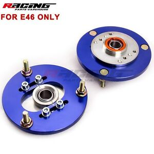 Coilover Camber Plates 2 For Bmw E46 320 323 325 328 M3 Front Top Mounts Blue