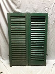 Small Pair Antique House Window Wood Louvered Shutters 14x38 Shabby Vtg 515 18c