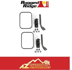 Rugged Ridge Square Stubby Trail Mirror Set 97 18 Jeep Wrangler Tj Jk Black