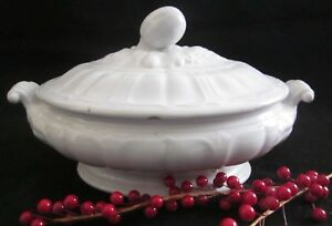 John Edwards President Shape White Ironstone Oval Vegetable Tureen