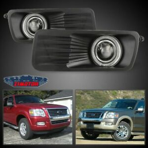 Fit Ford Explorer 06 10 Clear Lens Pair Bumper Fog Light Lamp Halo Projector