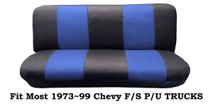 Mesh Black blue Full Size Bench Seat Cover fit Most 73 99 Chevy F s P u Trucks
