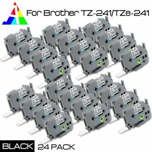 24 Pack Brother Tz 241 tze 241 Label Tape Cartridge Black On White 18mm P touch