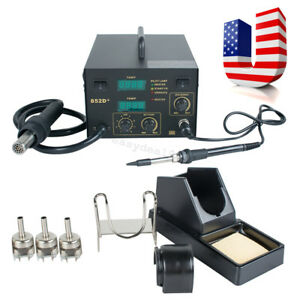 Usa 2in1 Soldering Iron Rework Stations Smd Hot Air Gun Desoldering Welder 852d
