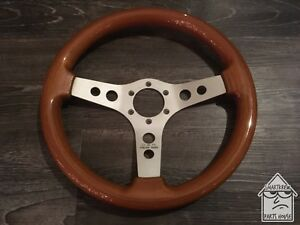 Vintage Oba 350mm Italian Made Wood Steering Wheel Jdm Momo Nardi