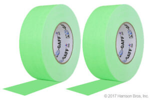 2 Pack Bundle 2 Inch Neon Green Pro Gaffer Gaffers Tape 50 Yd