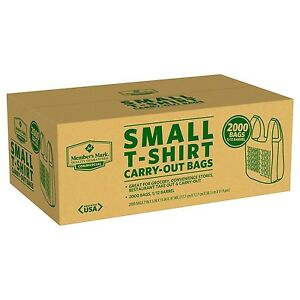 Small T shirt Carry Out Retail Plastic Bags Recyclable 2000ct no Sales Tax