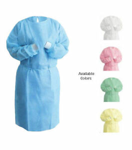 100 High Quality Blue Isolation Gown Sms Disposable With Knit Cuff
