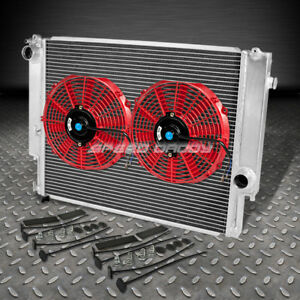 2 Row Full Aluminum Racing Radiator 2x Red Fans For 92 99 Bmw E36 3 Series Mt