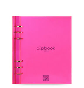 Filofax A5 Clipbook Translucent Refillable Note Diary Fluoro Pinkorganise 023613