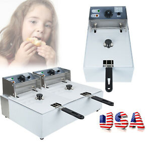 5 5 11l Electric Deep Fryer Tabletop Restaurant Frying Basket Scoop Home Use us