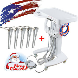 Portable Mobile Dental Delivery Cart Unit System 4 Hole 3w Springe 5pc Syringe