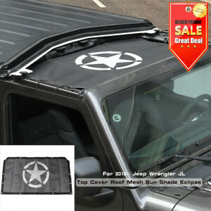 Car Top Mesh Sunshade Front Door Roof Cover Uv Protection For Jeep Wrangler Jl
