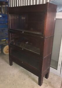Vintage Antique Hale Mahogany Barrister Bookcase Library 3 Stack Herkimer Ny