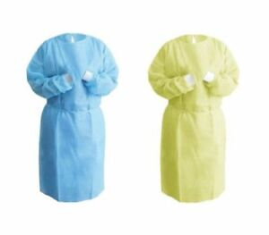 100 Medical Dental Hospital Isolation Gown Knitted Knit Cuff Blue Yellow