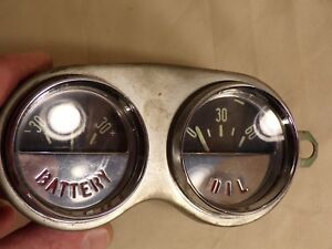 Vintage 58 62 Chevrolet Corvette Amp Battery Oil Pressure Dash Gauge Cluster