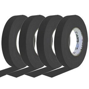 4 Pack 1 Inch Black Pro Gaffer Gaffers Tape 55 Yd Rolls
