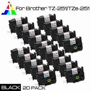 20pk Tze 251 Black On White Label Tape For Brother P touch Pt 1960 24mm Tz 251