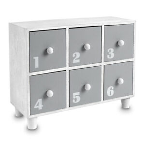 Gray Wooden Desktop Office Supplies Storage Organizer 6 Drawers