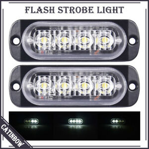 2pcs 4 Led Car Truck Emergency Beacon Warning Hazard Flash Strobe Light Bar Lamp