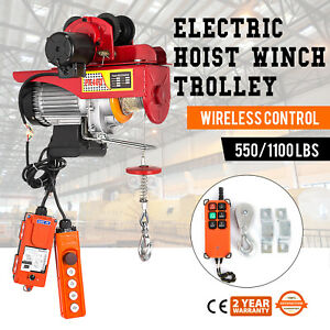 Electric Wire Rope Hoist W Trolley 40ft 550 1100lb Suspending A3 Steel Copper