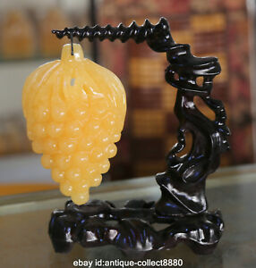 5 9 Collect Chinese Pure Natural Yellow Jade Hand Carved Pretty Grape Statue