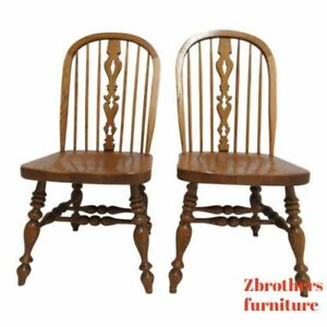 Pair Ethan Allen Dining Room Side Chairs Windsor Back Charter Oak Jacobean