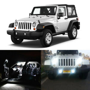 10pcs White Led Interior Bulb Fog Reverse Tag Lights For 2010 2017 Jeep Wrangler