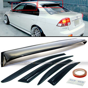 For 01 05 Civic 4dr Black Tint Mugen Style Wavy Window Visors Rear Roof Visor