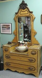 Antique Grain Painted Country Cottage Dresser With Mirror